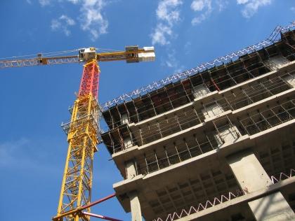 a crane on a building site