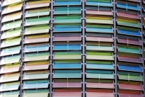 multi coloured slatted windows